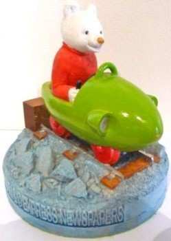 Rupert in trolley car figurine
